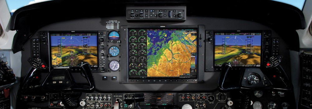 Picture of King Air 200 glass panel courtesy of Garmin